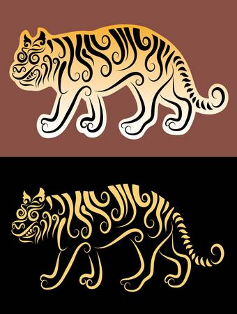 Tiger ornament sticker Vector