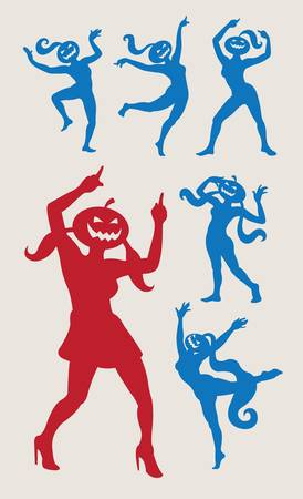 Dancing pumpkins 1 set   Stock Vector - 15243517