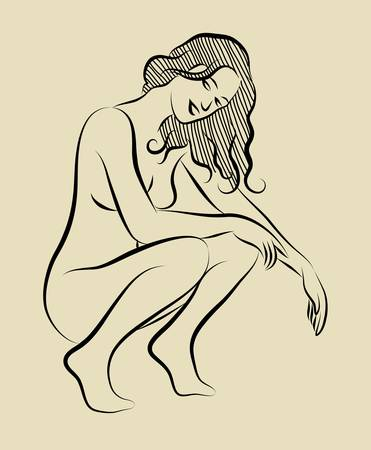 naked girl: Sexy girl sketch 3
