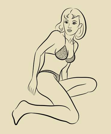 erotic fantasy: Sexy girl sketch 4