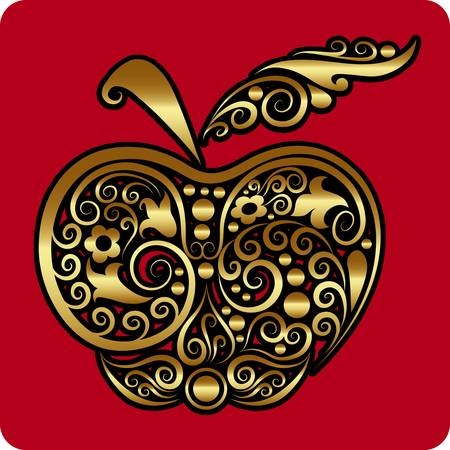 Golden apple ornament vector Vector