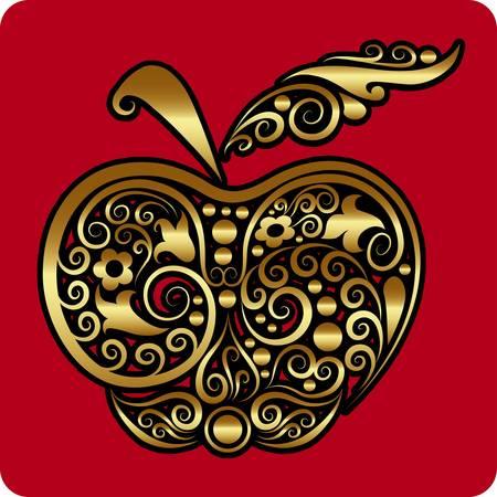 marca libros: Manzana de oro vector ornamento