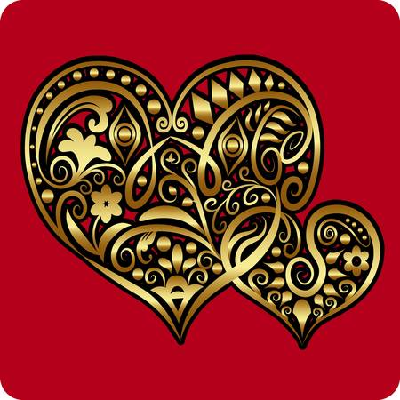Golden two hearts ornament vector Vector