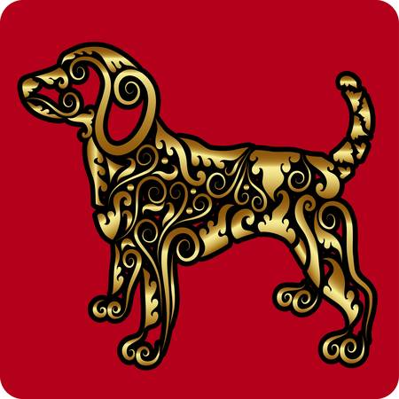Golden dog ornament vector  Vector