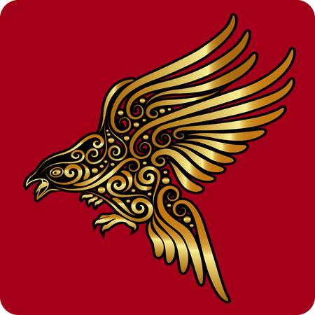 Golden bird ornament vector  Иллюстрация