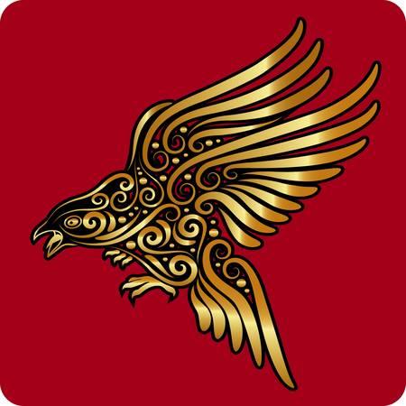sculptures: Golden bird ornament vector  Illustration