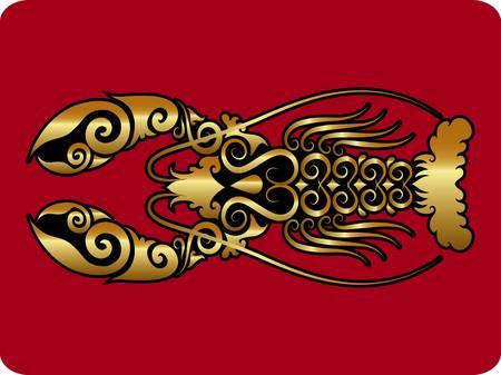 logos restaurantes: Langosta vector ornamento de oro