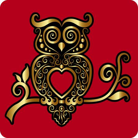 Golden owl ornament vector Vector