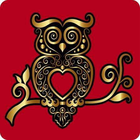 pendant: Golden owl ornament vector Illustration