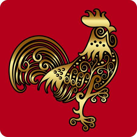 animal cock: Gallo d'oro vettore ornamento