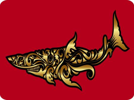Golden shark ornament vector Vector