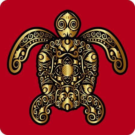 metal sculpture: Golden turtle ornament vector