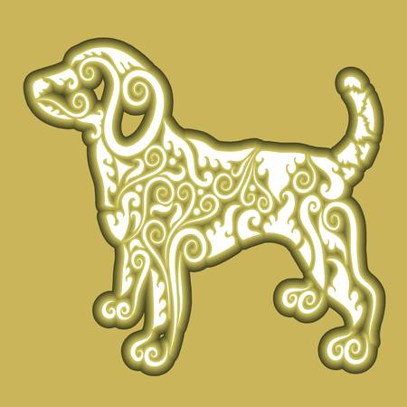 Dog floral icon vector Vector