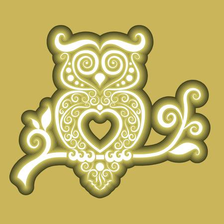 Owl floral icon vector