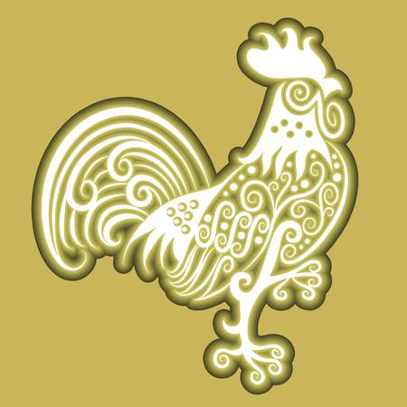 Rooster floral icon vector Stock Vector - 15362514