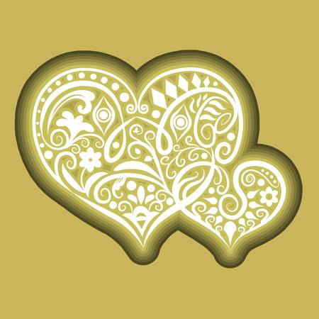 Two hearts floral icon vector Vector