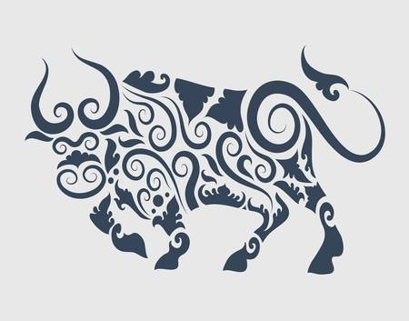 Bull ornament Stock Vector - 15409854