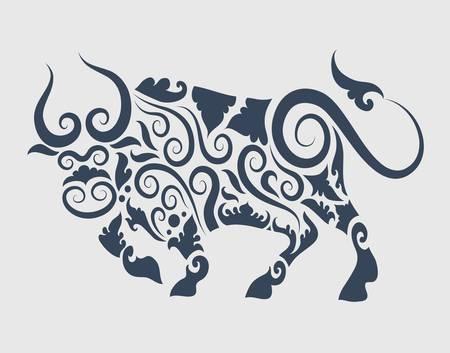 Bull ornament Stock Vector - 15409854