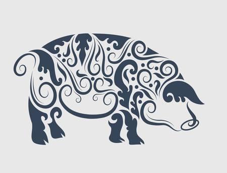 Pig flora ornament Иллюстрация