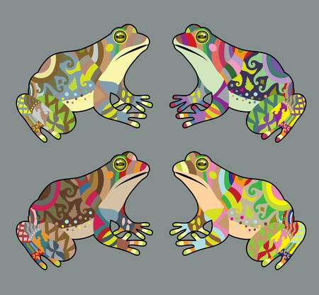 Colorful frog ornament vector Vector