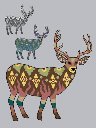 Colorful deer ornament vector Stock Vector - 15532694