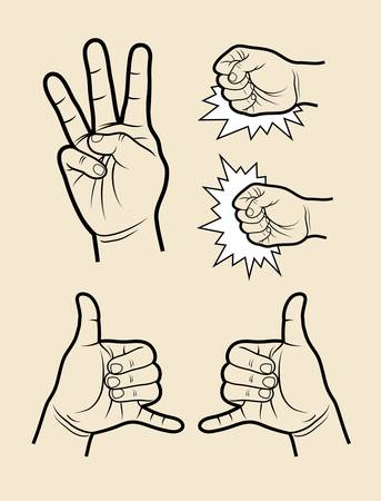 three hands: Hand sign vectors  three, call, hit, etc  Illustration