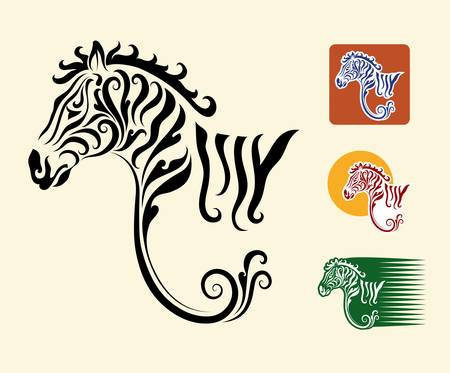 Zebra symbol and three alternative colors design Ilustracja