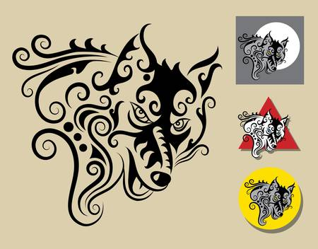 wolf symbol and three alternative colors design Vector