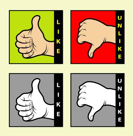 Hand sign symbols, monochrome and color Vector