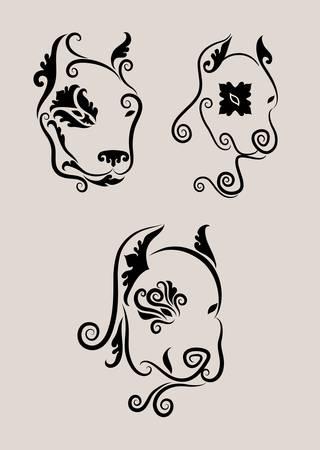 tete chien: 3 d�corations t�te de chien Illustration