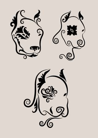 3 Dog Head Ornaments Vector