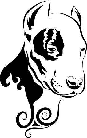 Dog Head Curl Ornament Vector Vector