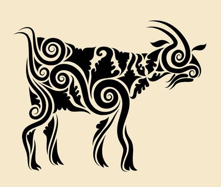 Goat with floral ornament vector Illustration