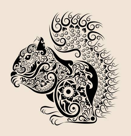 Squirrel Drawing with Floral Ornament Vector Vector