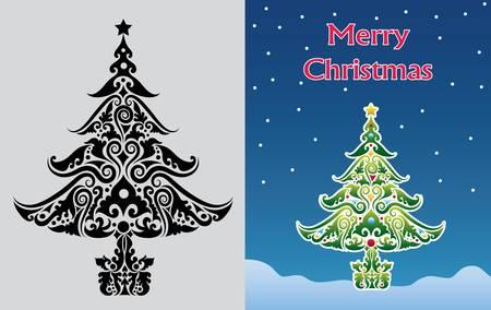 christmas motif: Christmas tree ornament vector Illustration