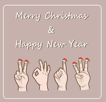 Santa Claus fingers  Christmas   New Year 2013  Vector