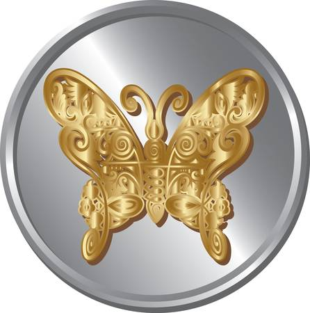 emboss: Butterfly gold and silver coin