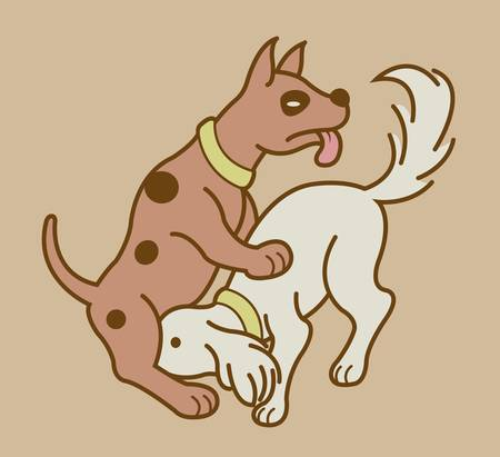 romantic sex: Making love position 5, erotic couple dogs version Illustration