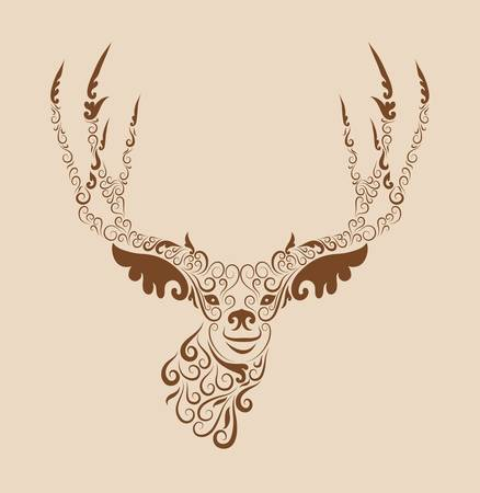 Vintage deer head ornament Vector
