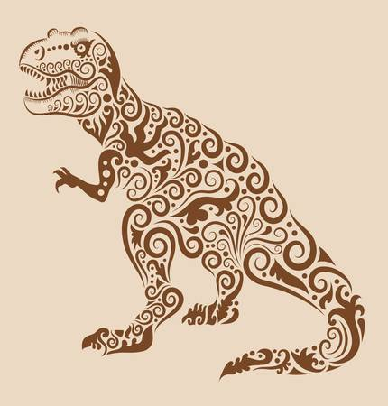 Vintage dinosaur ornament Vector