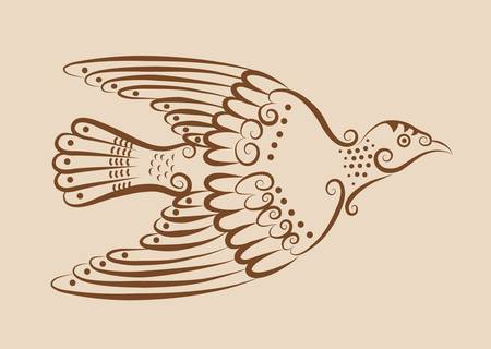 Vintage pigeon ornament Vector