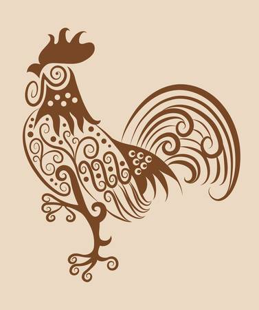 Vintage rooster ornament Stock Vector - 16765652