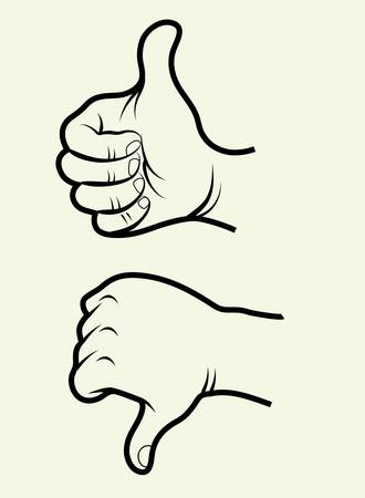 line up: Like unlike hand signs drawing Illustration