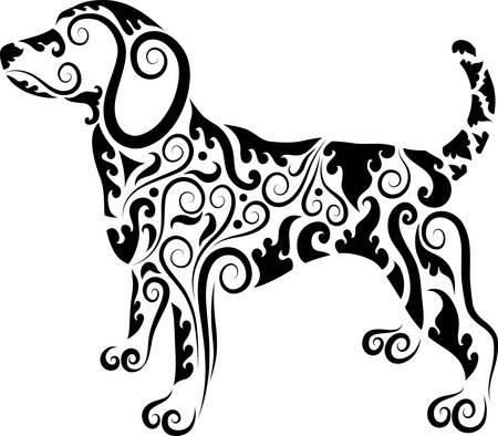 monochroom: Hond ornament decoratieve Stock Illustratie