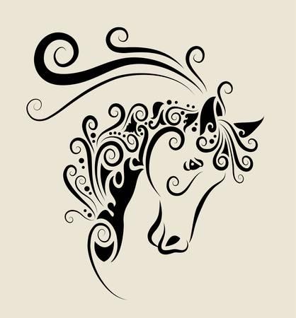 chevaux noir: Ornement de t�te de cheval Illustration
