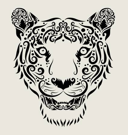 Tiger head ornament Vector