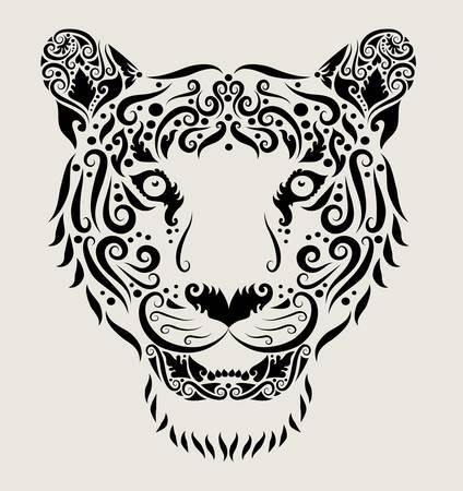 Tiger head ornament Illustration