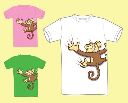 textile image: Color cute monkey t-shirt design, funny colorful mascot cartoon character, icon, comic illustration style,