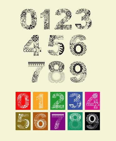 Numbers floral decorative ornament  Black and color  Vector