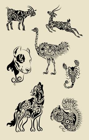 Animal symbols with floral decorative ornament vector Stock Illustratie